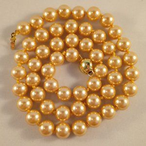 14K Gold GPEP Gold Shell Pearl Necklace 8mm
